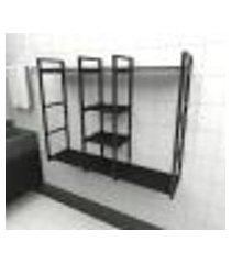 prateleira industrial banheiro aço cor preto 120x30x98cm (c)x(l)x(a) cor mdf preto modelo ind47pb