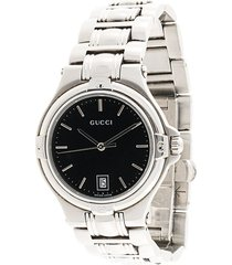 gucci pre-owned 9040m midsize wrist watch - silver