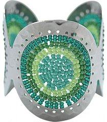 brazalete imperial tejido a mano acero verde bijulovers