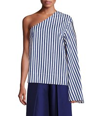 freja cotton poplin one-shoulder top