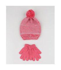 kit infantil de gorro com lurex + luva em tricô rosa