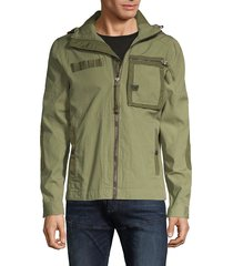 g-star raw men's hooded cotton-blend jacket - sage - size m