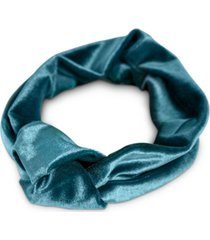 twelvenyc peacock-teal velvet stretch knot headband