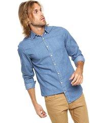 camisa azul tommy hilfiger slim fit ind open dot prt nfh6