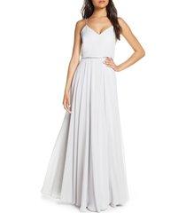 women's jenny yoo inesse blouson chiffon a-line gown, size 12 - blue