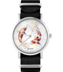 zegarek - karpie koi - czarny, nylonowy