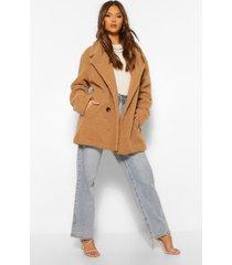 faux teddy fur jas met dubbele knopen, camel