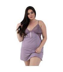 camisola diluxo plus size detalhe em renda lilás