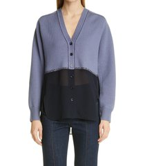 women's chloe wool & silk cardigan, size large - blue