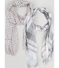 kit de 2 lenços femininos estampados rosa claro