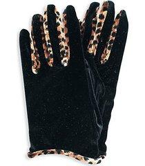 velvet & animal-print gloves