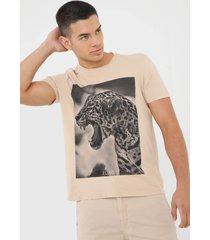 camiseta ellus leopardo bege