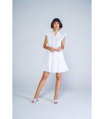 vestido adrissa blanco tela con efecto