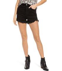 women's free people curvy high waist jean shorts, size 24 - black