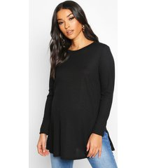 maternity side split rib sweater, black