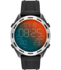 relógio diesel crusher digital 47mm silicone masculino
