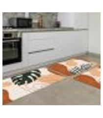 kit tapete de cozinha folhas minimalista único