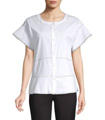 donna karan women's piping button front short sleeve blouse - white - size s
