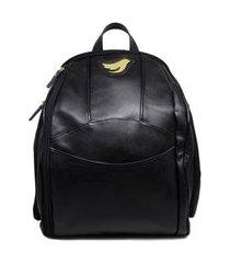 mochila relicário para bebê de couro modelo manuela preto