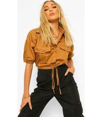 cotton mix mock horn button drawstring shirt, camel