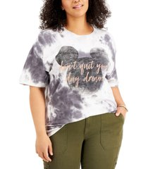 love tribe trendy plus cotton don't quit your day dream tie-dyed t-shirt