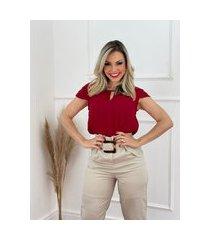 blusa manga curta camadas vermelha