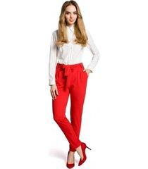 broek moe m363 chino broek met riem - rood
