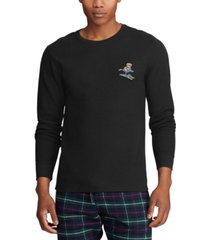 polo ralph lauren men's big embroidered waffle crewneck sleep shirt, created for macy's