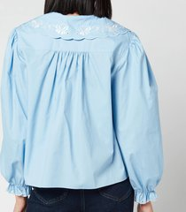 rixo women's darcy embroidered collar cotton blouse - blue cotton - xs