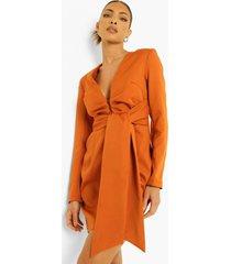 blazer jurk met strik en lange mouwen, terracotta