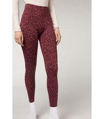 calzedonia animal print active leggings woman pink size xl
