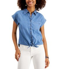 style & co tie-waist button-front shirt, created for macy's