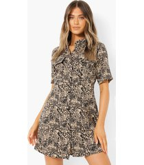 blouse jurk met zak detail en opdruk, ecru