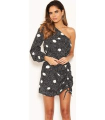 ax paris women's snake print one shoulder dress with side ruched detail