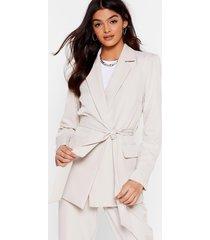 suit up longline belted blazer