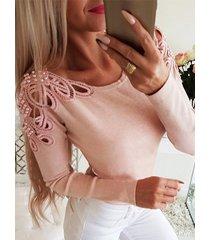 suéter de manga larga con cuello redondo y detalles hechos a mano de color rosa
