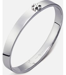 tory burch women's kira hinged bracelet - tory silver