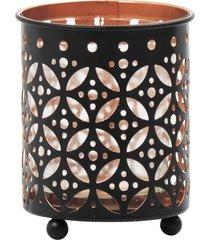 porta vela kasa ideia de metal circle design cinza 8x7,5cm - preto - dafiti