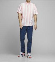 jack & jones men's organic striped cotton short sleeve shirt
