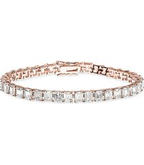 look of real rose goldplated & crystal tennis bracelet