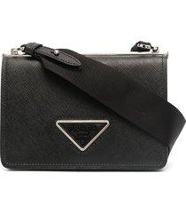 prada triangle logo crossbody bag - black