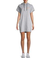 dkny sport women's ombre logo hoodie dress - pearl - size m
