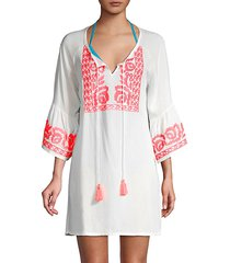embroidered split neck coverup