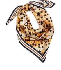 women's burberry spotted monkey print logo silk scarf, size one size - brown