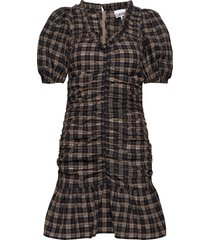 mini dress kort klänning brun ganni