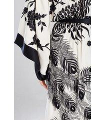 couture black peacock sleep/lounge/bath wrap/robe, women's, white, 100% silk, size xs/s, josie natori
