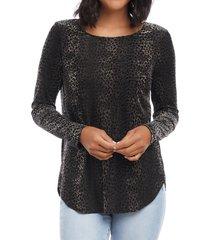 women's karen kane velvet burnout top, size large - black