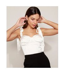 regata corset feminina mindset acetinada alça de amarrar decote coração off white