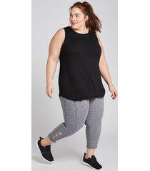 lane bryant women's livi capri power legging - marled with strappy hem 10/12 marled grey