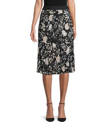 calvin klein women's floral pleated skirt - black multi - size l